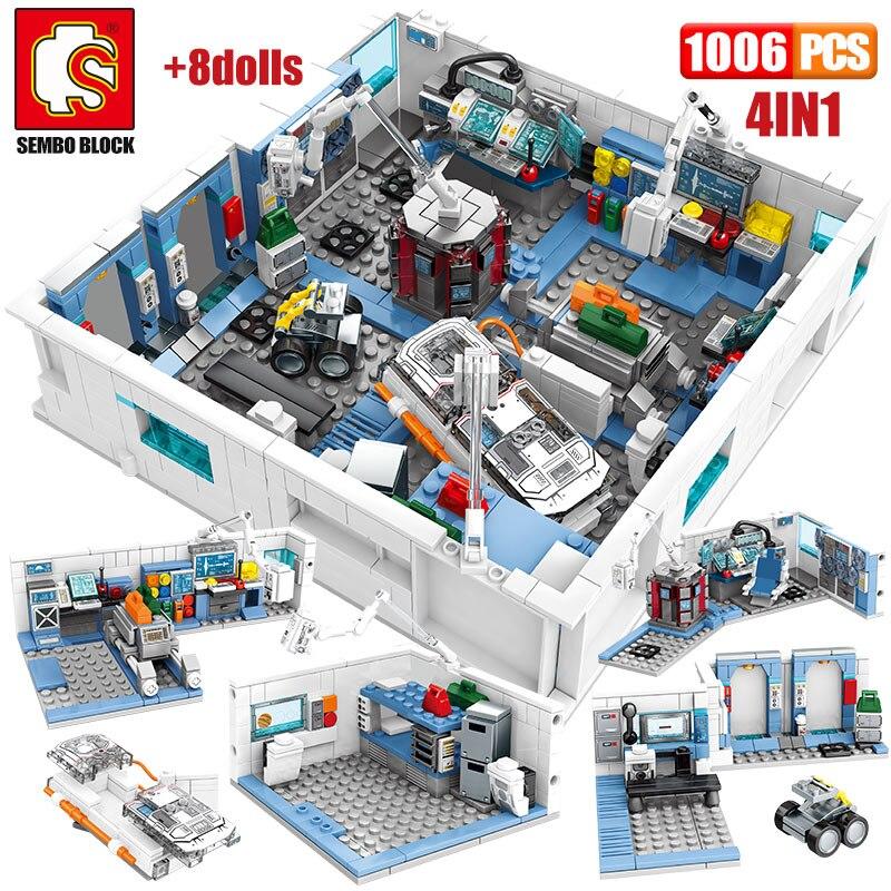 SEMBO Wandering Earth Air Space Station House Building Blocks City Technic Car astronaut Figures 1006pcs Bricks Toys for kids